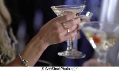vin, fête, étincelant, gens, verre