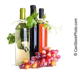 vin flaskor, och, druvor