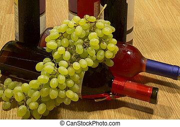 vin flaskor, och, grapes.