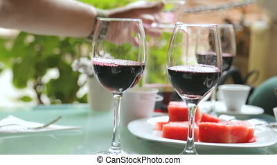 vin, gens, boire, café, rue