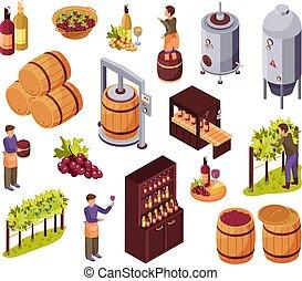 vin, icônes, ensemble, production