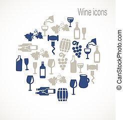 vin, icônes