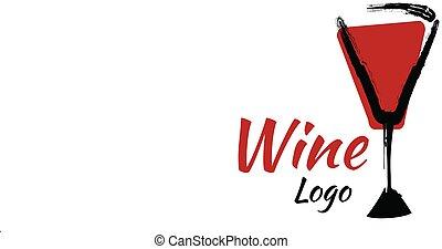 vin, illustration, logo, noir rouge, blanc, couleur, vecteur, isolé, symbole