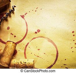 vin kork, korkskruv, och, röd vin, fläckar, på, den, årgång,...