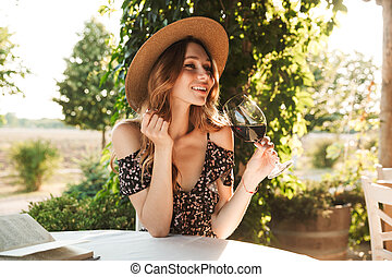 vin., kvinna, drickande, nätt, ung