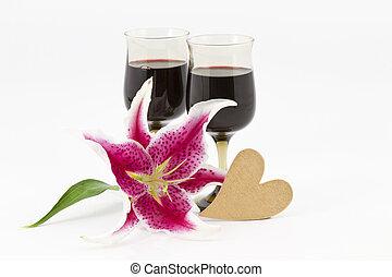 vin, lis, coeur rouge