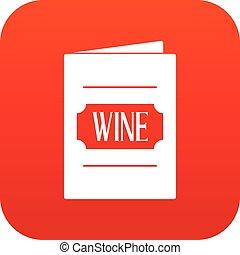 vin, numérique, liste, rouges, icône