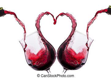 vin, romantique, toast, rouges