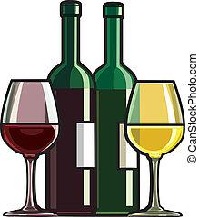 vin rouge, blanc