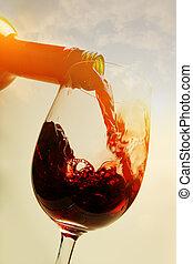 vin rouge, coucher soleil