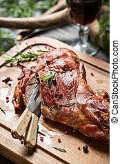vin rouge, viande, fraîchement, rôti