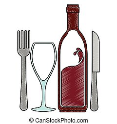 vin, silhouette, coutellerie, bouteille, tasse