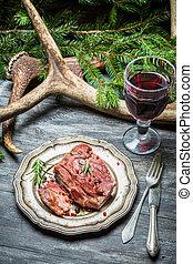 vin, venaison, closeup, rouges, rôti