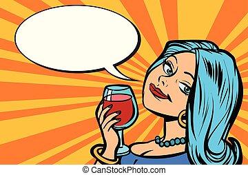 vin verre, agréable, femme