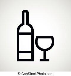 vin, verre., bouteille