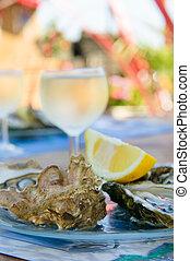 vin verre, huîtres, frais