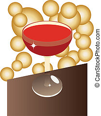 vin verre, table
