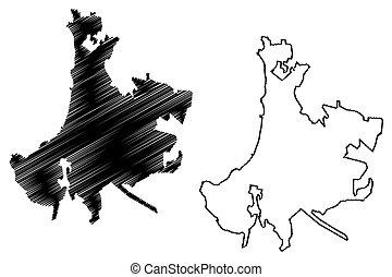 Vina del Mar City (Republic of Chile, Valparaiso Region) map vector illustration, scribble sketch City of Vina del Mar map