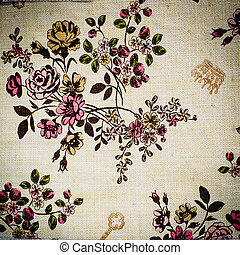 Vinage Flower on table cover sheet