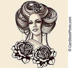 vinage, mulher jovem, retrato, com, pérolas, e, rosas