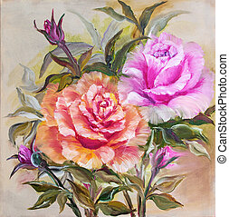 vinage, rosa gelb, roses.