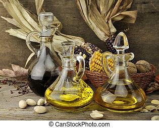 vinagre, óleo cozinhando