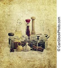 vinagre, óleo, temperos