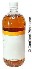 vinagre, sidra maçã, etiqueta, garrafa, em branco