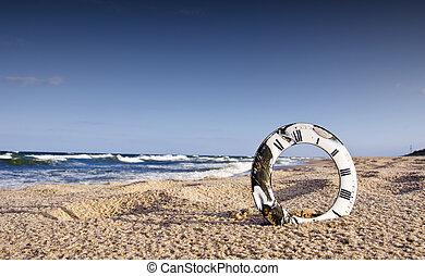 clock dial and sea landscape