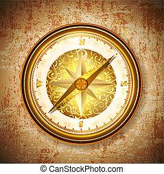 vinatge, antigüidade, dourado, compasso