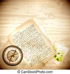Vinatge antique compass and old letter