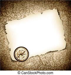 vinatge, bússola antiga, em, queimado, papel