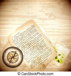 vinatge, bussola antica, e, vecchia lettera