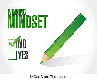 vincente, mindset, negativo, segno, concetto