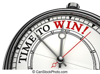 vincere, concetto, orologio tempo