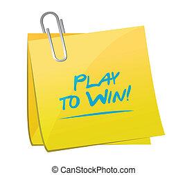 vincere, gioco, disegno, promemoria, illustrazione