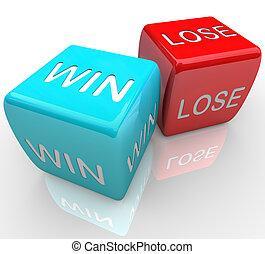 vincere, vs, -, dado, perdere