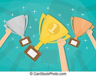 vincitore, campanelle, presa a terra, trofei, mani