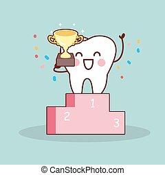 vincitore, cartone animato, dente