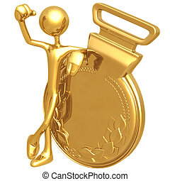 vincitore, medaglia, oro