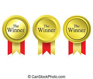 vincitore, premio, medaglie