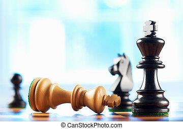 vincitore, re, defeats, scacchi, bianco