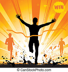 vincitore, silhouette, uomo