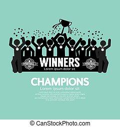 vincitore, soccer., tazza