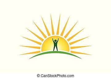 vincitore, speranza, forza, persone, concetto, sole, logo., mattina