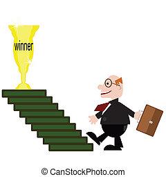 vincitore, uomo affari