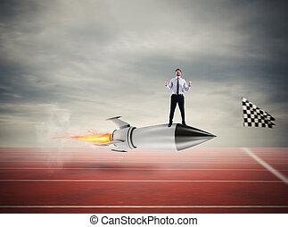 vincitore, uomo affari, sopra, uno, digiuno, rocket., concetto, di, affari, concorrenza