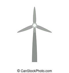 vind, gråne, silhuet, generator magt