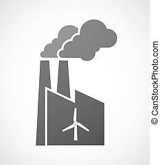 vind, industriel, fabrik, generator, ikon