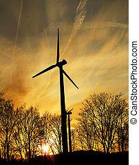vind lantgård, hos, solnedgång